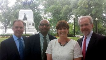 Boston contigent Liam Donahue (.406), Carmichael Roberts (NorthBridge), Emily Mendell, and Terry McGuire (both of Polaris) outside White House.